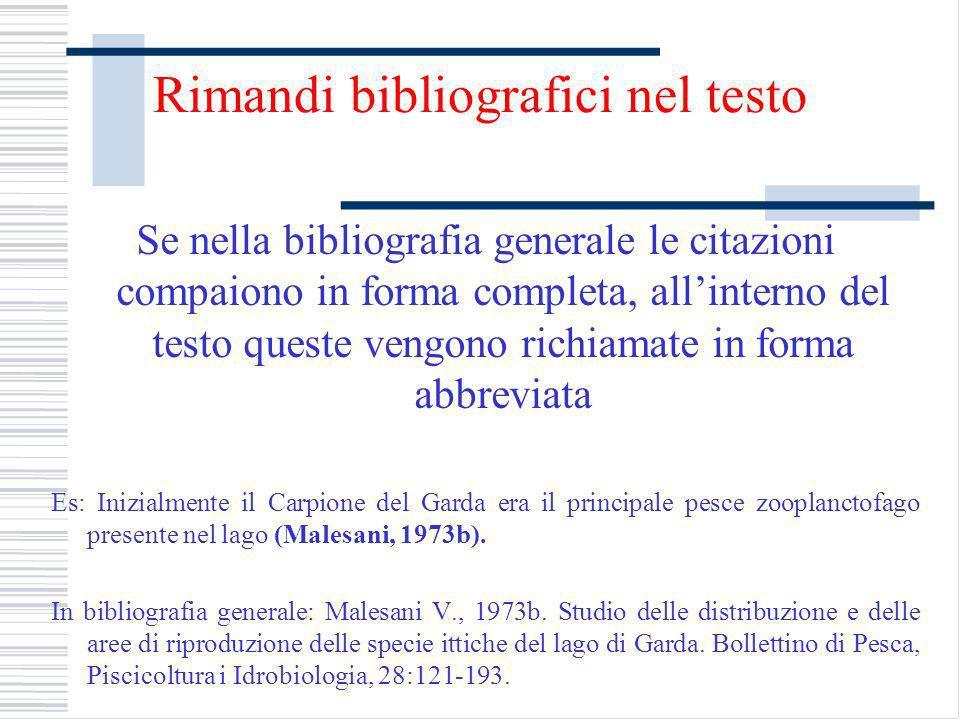 Rimandi bibliografici nel testo