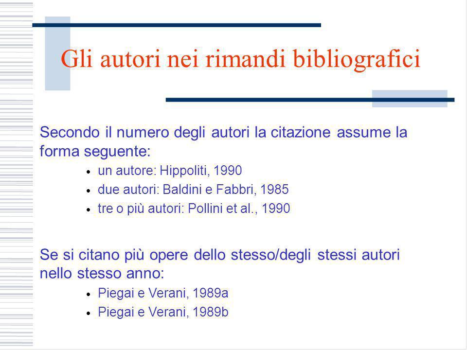 Gli autori nei rimandi bibliografici
