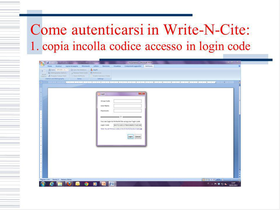Come autenticarsi in Write-N-Cite: 1