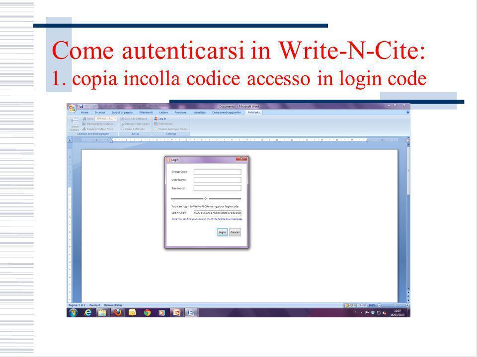 Come autenticarsi in Write-N-Cite: 1