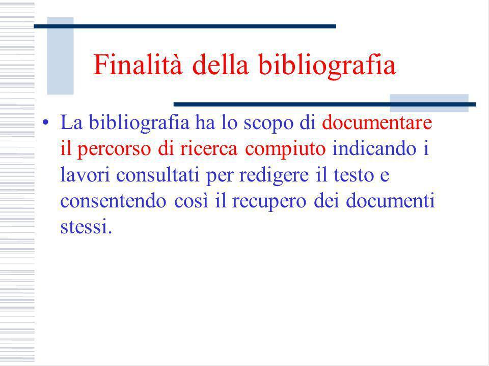 Finalità della bibliografia