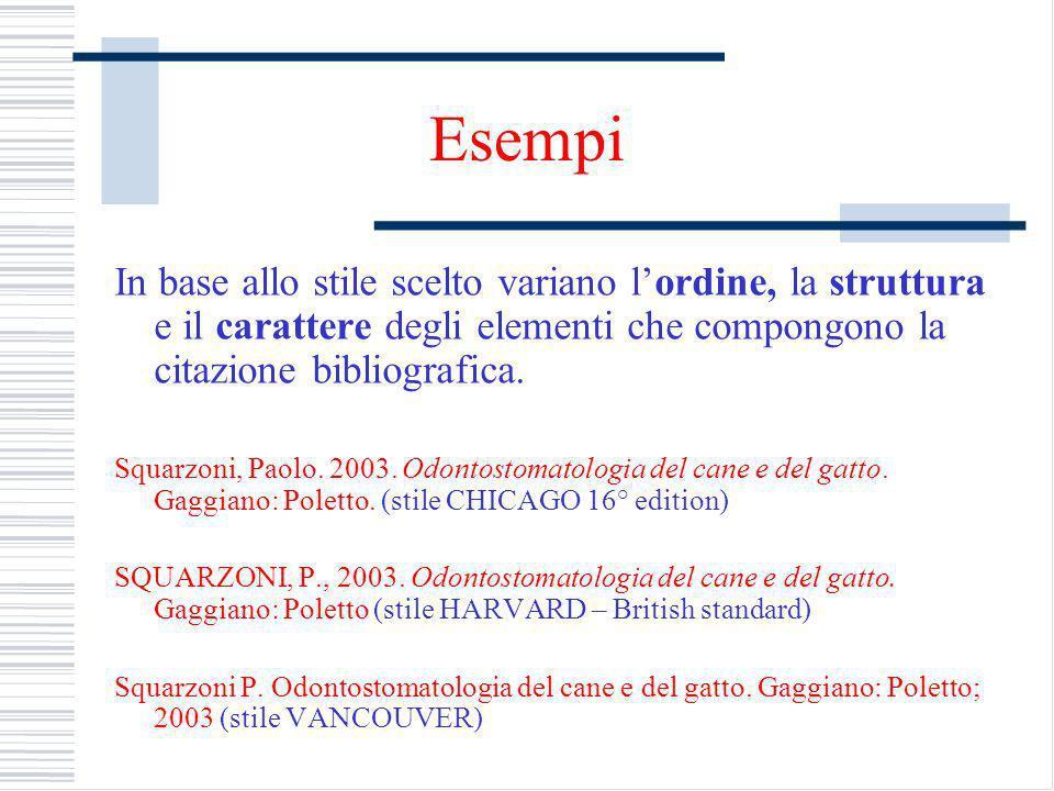 Esempi In base allo stile scelto variano l'ordine, la struttura e il carattere degli elementi che compongono la citazione bibliografica.