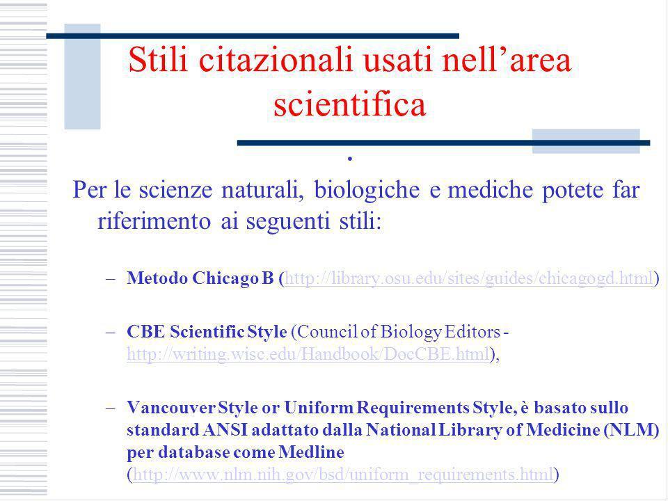 Stili citazionali usati nell'area scientifica .