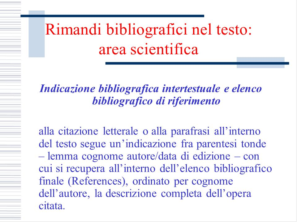 Rimandi bibliografici nel testo: area scientifica