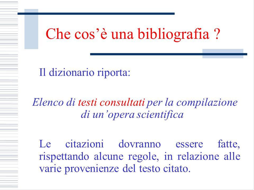 Che cos'è una bibliografia