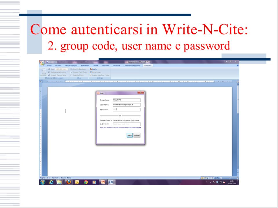 Come autenticarsi in Write-N-Cite: 2. group code, user name e password