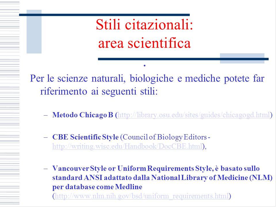 Stili citazionali: area scientifica .