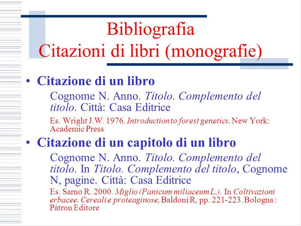 Bibliografia Citazioni di libri (monografie)