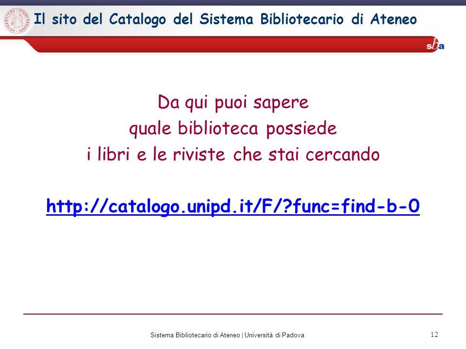 Il sito del Catalogo del Sistema Bibliotecario di Ateneo