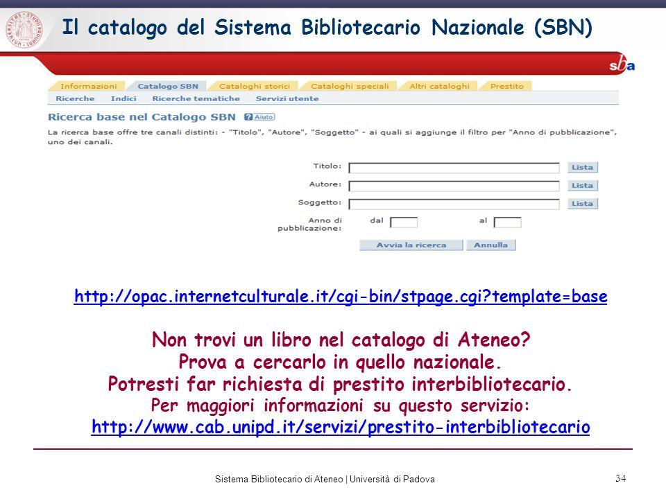 Il catalogo del Sistema Bibliotecario Nazionale (SBN)