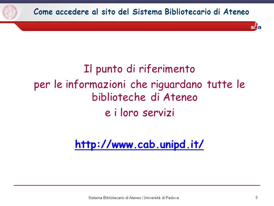 Come accedere al sito del Sistema Bibliotecario di Ateneo