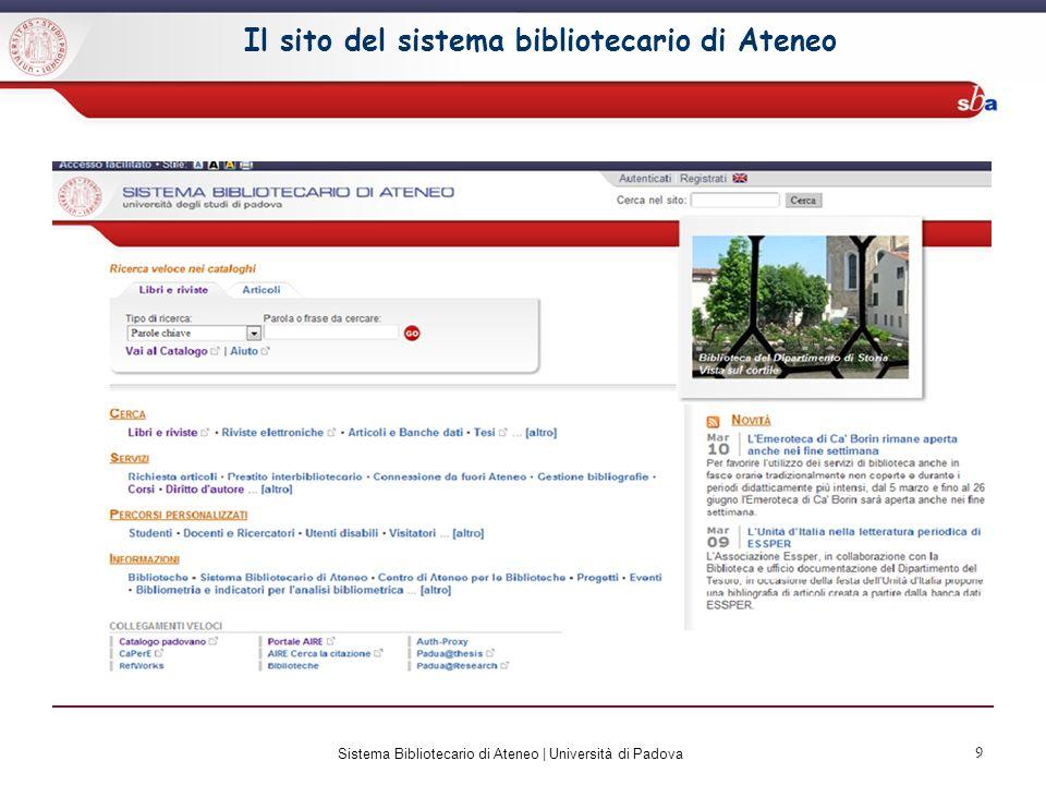 Il sito del sistema bibliotecario di Ateneo