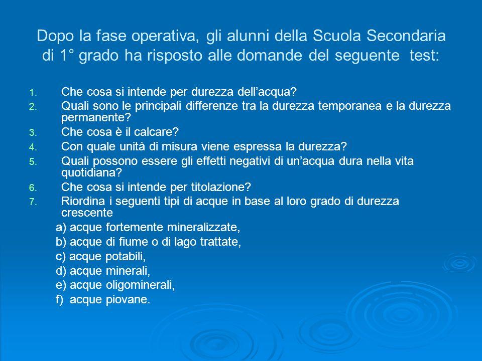 Dopo la fase operativa, gli alunni della Scuola Secondaria di 1° grado ha risposto alle domande del seguente test: