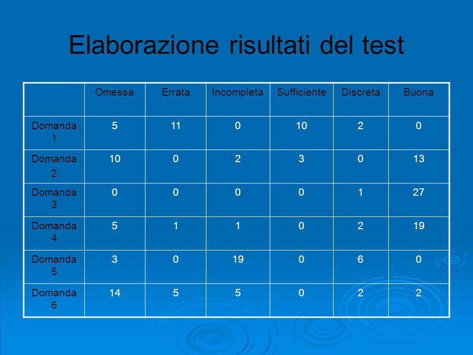 Elaborazione risultati del test