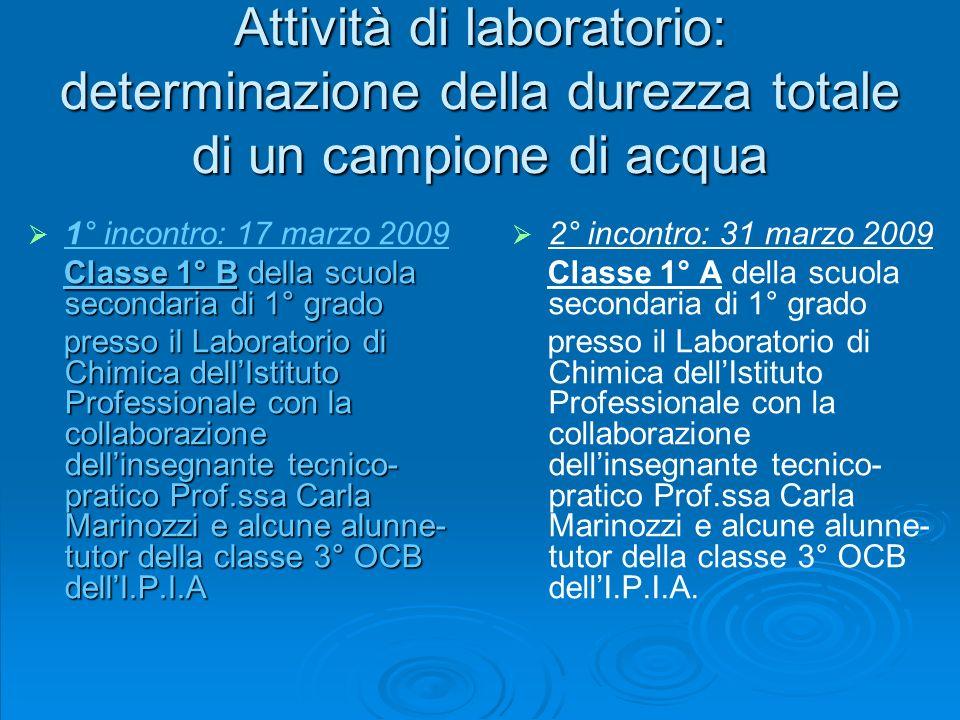 Attività di laboratorio: determinazione della durezza totale di un campione di acqua
