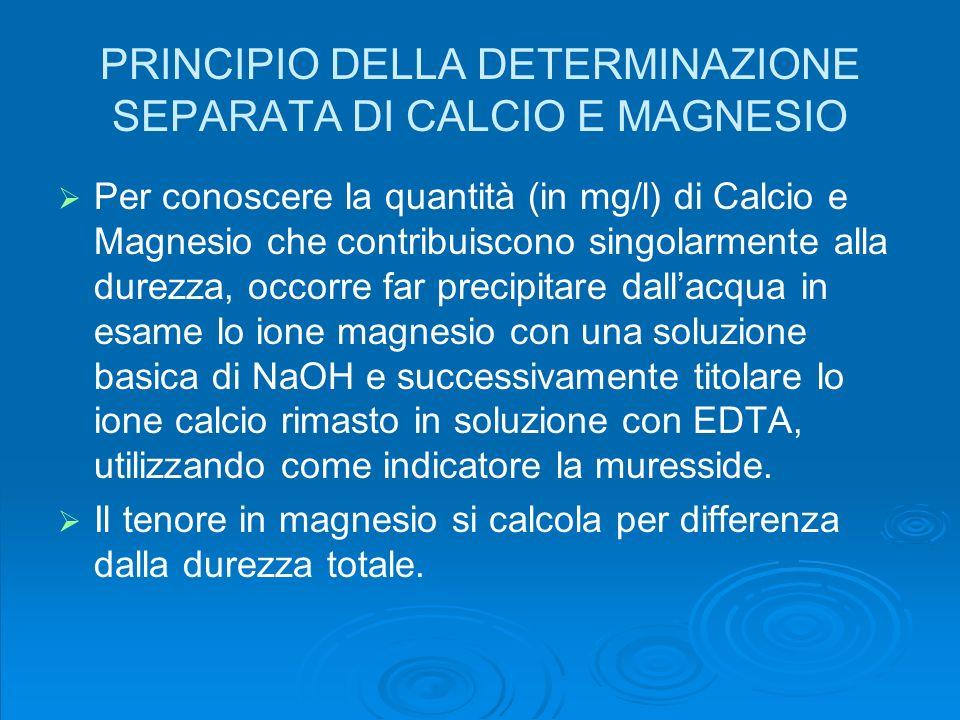 PRINCIPIO DELLA DETERMINAZIONE SEPARATA DI CALCIO E MAGNESIO