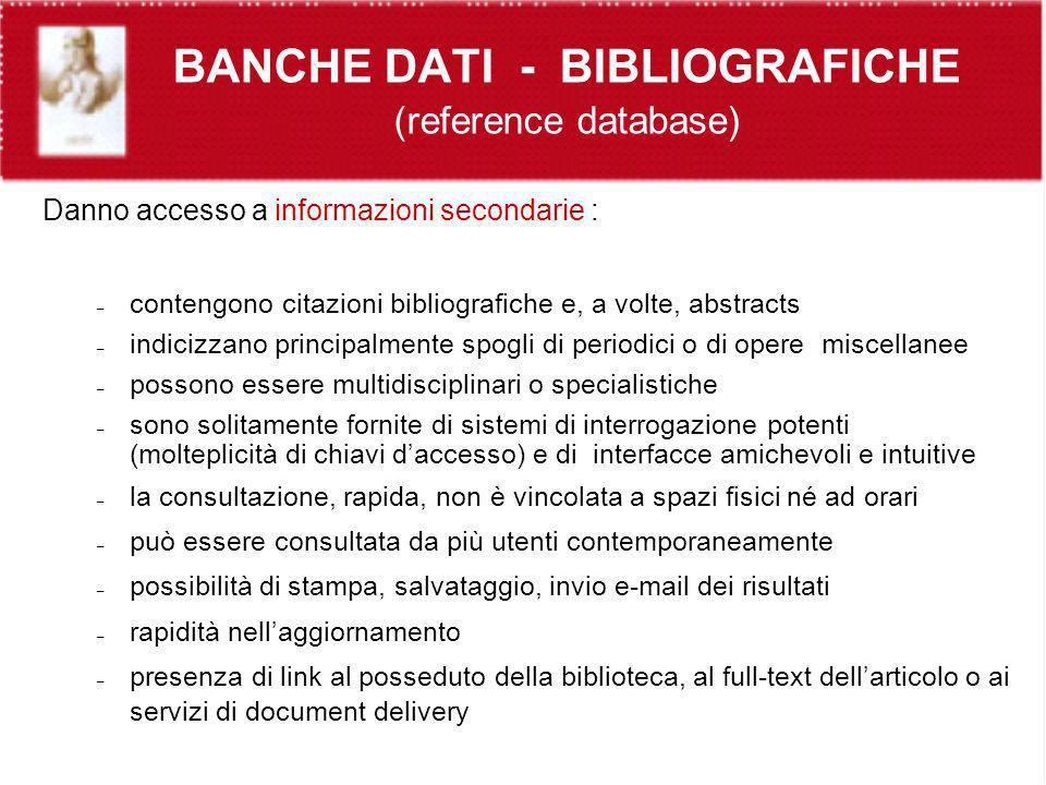 BANCHE DATI - BIBLIOGRAFICHE (reference database)