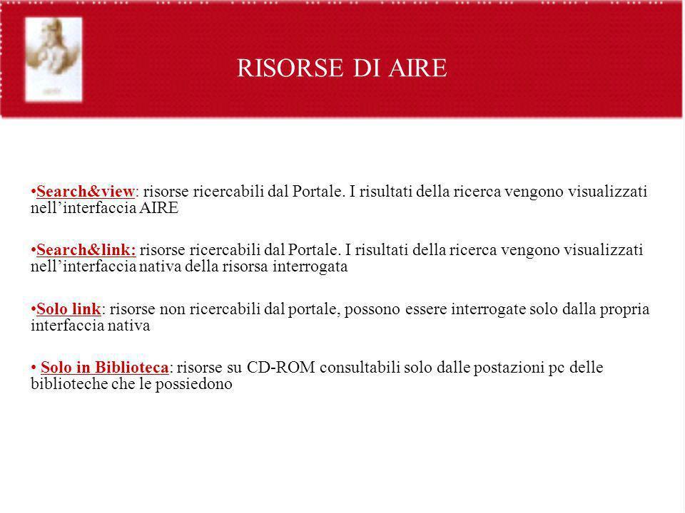 RISORSE DI AIRE Search&view: risorse ricercabili dal Portale. I risultati della ricerca vengono visualizzati nell'interfaccia AIRE.