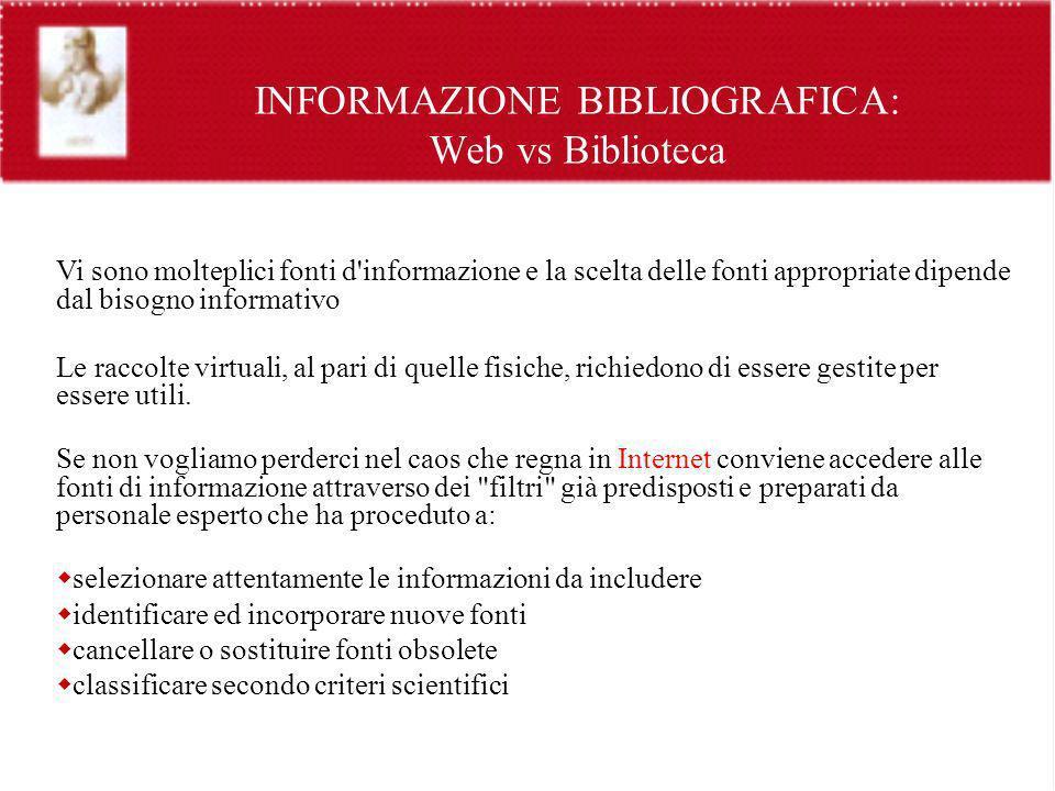 INFORMAZIONE BIBLIOGRAFICA: Web vs Biblioteca