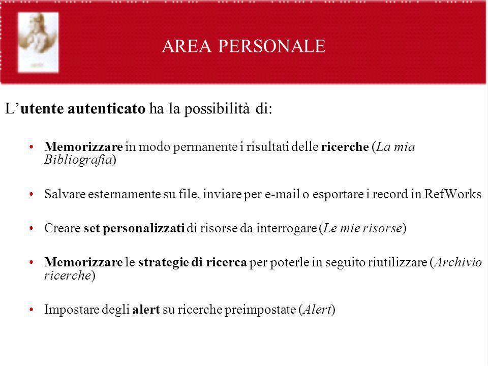 AREA PERSONALE L'utente autenticato ha la possibilità di: