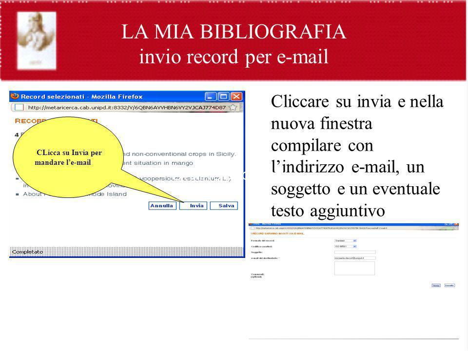 LA MIA BIBLIOGRAFIA invio record per e-mail