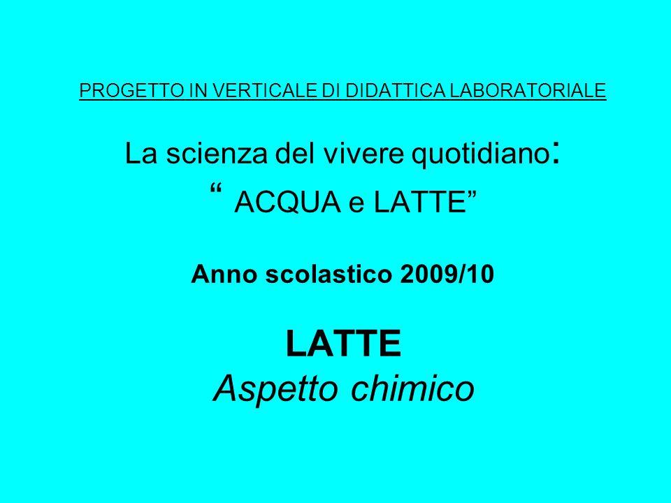 PROGETTO IN VERTICALE DI DIDATTICA LABORATORIALE La scienza del vivere quotidiano: ACQUA e LATTE Anno scolastico 2009/10 LATTE Aspetto chimico