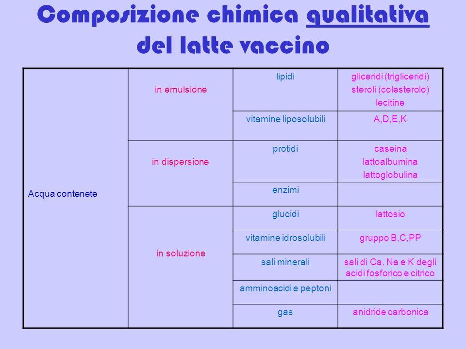 Composizione chimica qualitativa del latte vaccino