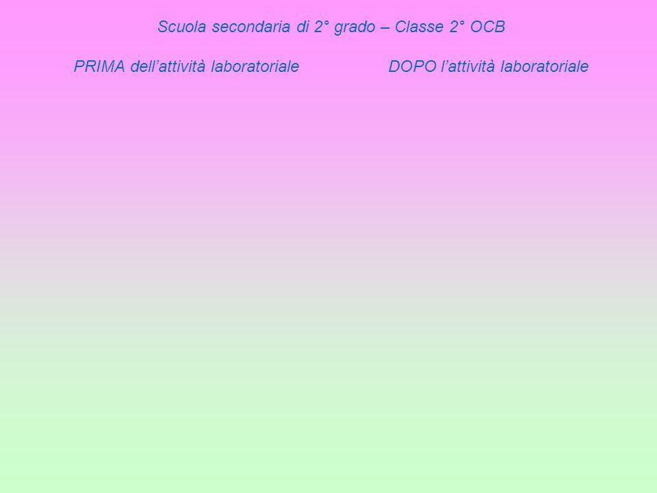Scuola secondaria di 2° grado – Classe 2° OCB PRIMA dell'attività laboratoriale DOPO l'attività laboratoriale