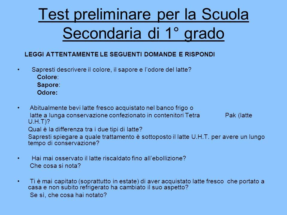 Test preliminare per la Scuola Secondaria di 1° grado