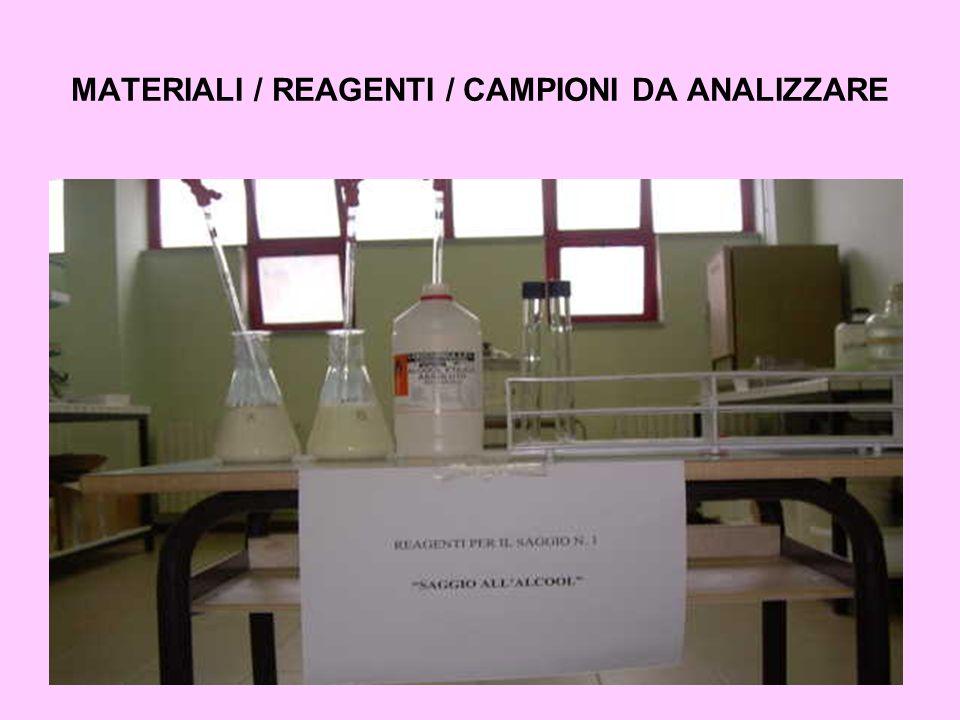 MATERIALI / REAGENTI / CAMPIONI DA ANALIZZARE