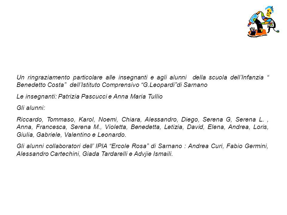 Un ringraziamento particolare alle insegnanti e agli alunni della scuola dell'Infanzia Benedetto Costa dell'Istituto Comprensivo G.Leopardi di Sarnano