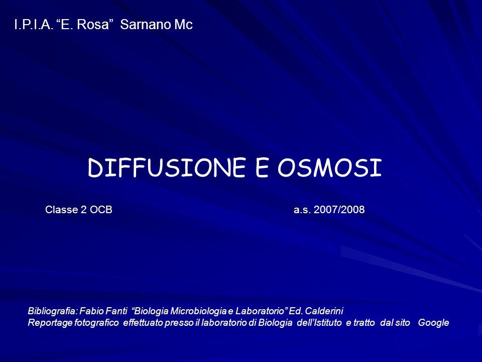 DIFFUSIONE E OSMOSI I.P.I.A. E. Rosa Sarnano Mc