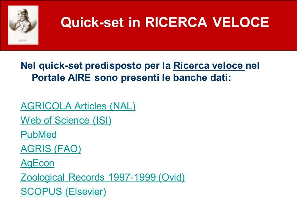 Quick-set in RICERCA VELOCE