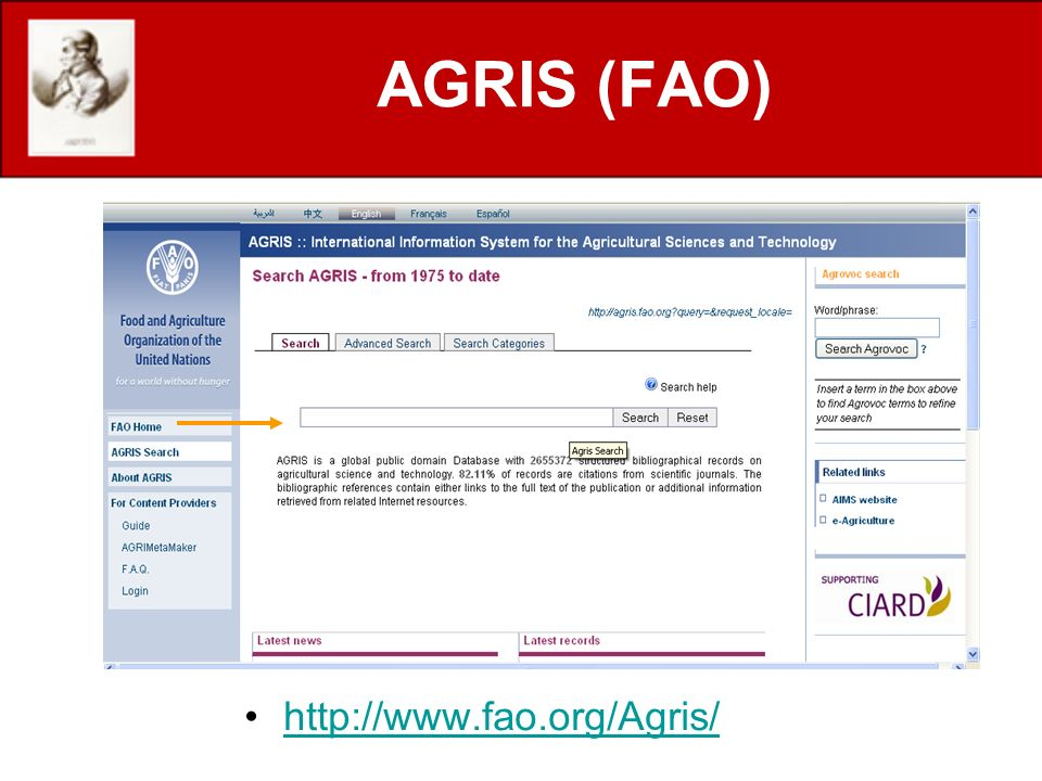AGRIS (FAO) http://www.fao.org/Agris/