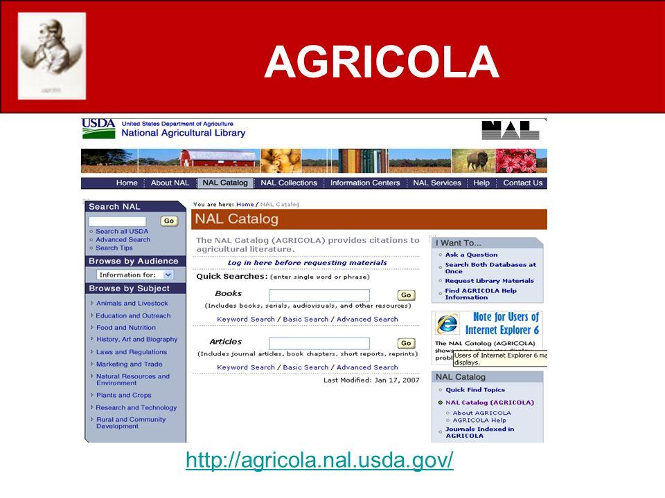AGRICOLA http://agricola.nal.usda.gov/