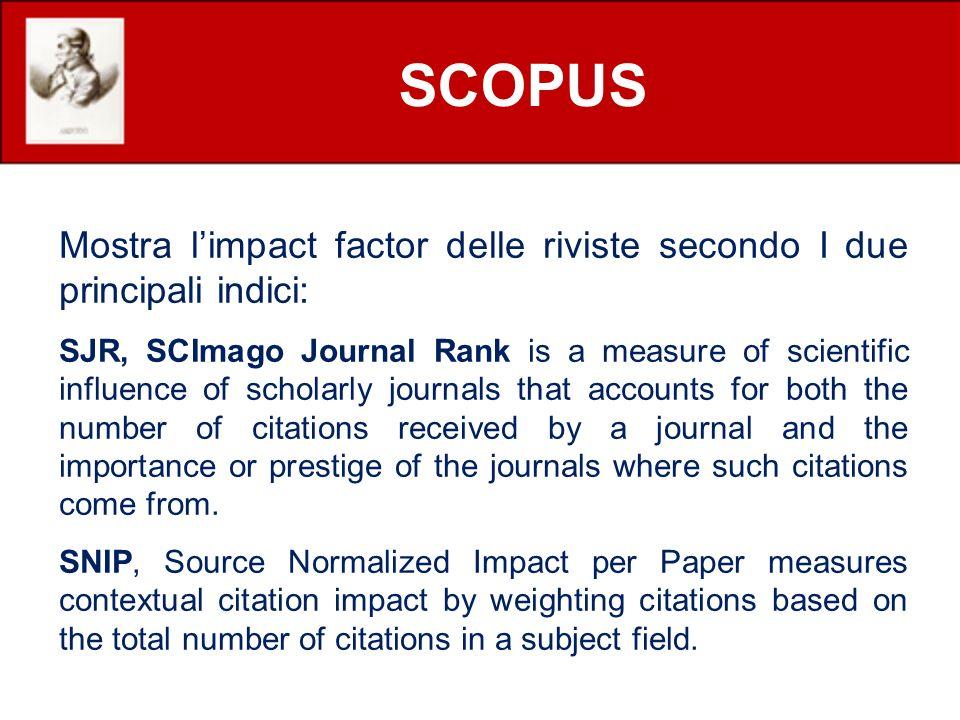 SCOPUS Mostra l'impact factor delle riviste secondo I due principali indici: