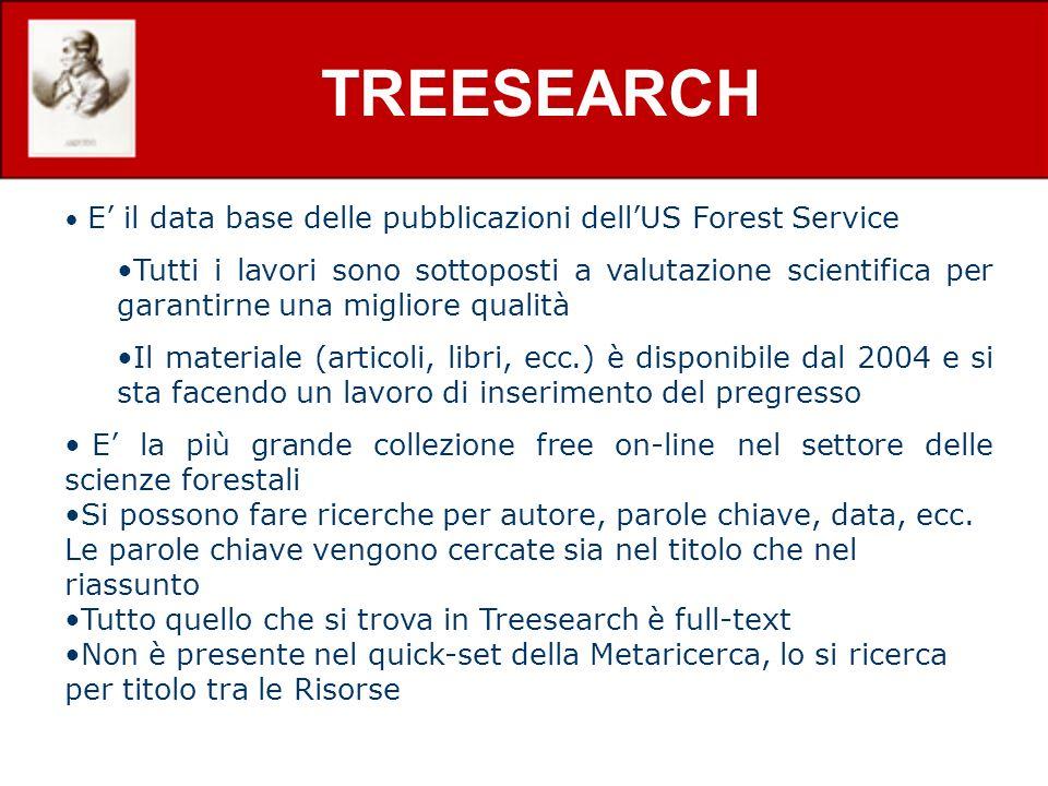 TREESEARCH E' il data base delle pubblicazioni dell'US Forest Service.