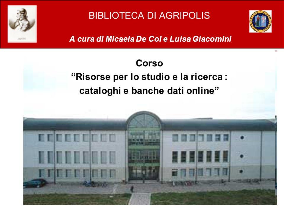 Risorse per lo studio e la ricerca : cataloghi e banche dati online