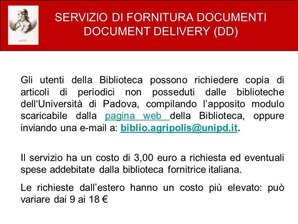 SERVIZIO DI FORNITURA DOCUMENTI DOCUMENT DELIVERY (DD)