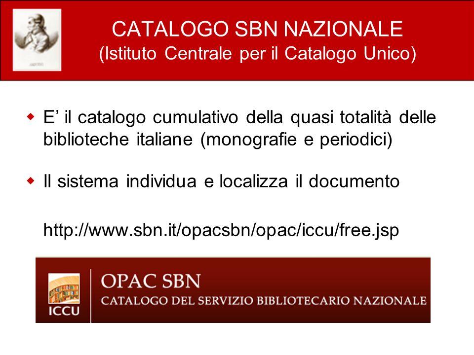 CATALOGO SBN NAZIONALE (Istituto Centrale per il Catalogo Unico)