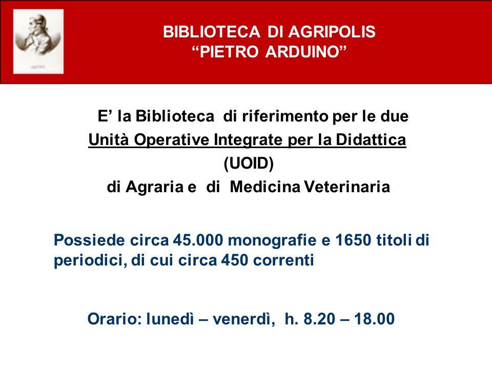 BIBLIOTECA DI AGRIPOLIS PIETRO ARDUINO