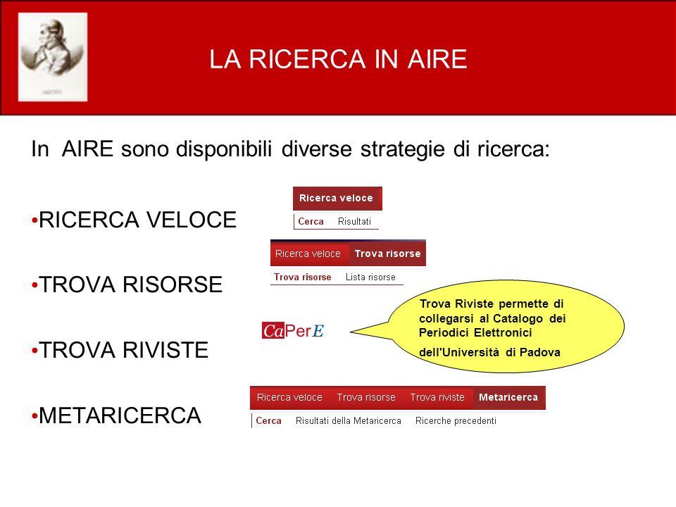 LA RICERCA IN AIRE In AIRE sono disponibili diverse strategie di ricerca: RICERCA VELOCE. TROVA RISORSE.