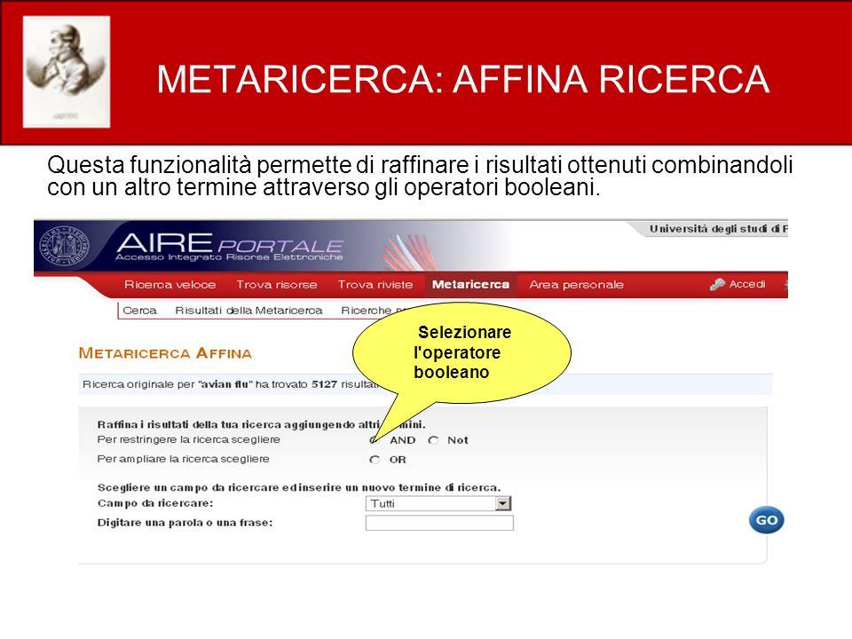 METARICERCA: AFFINA RICERCA
