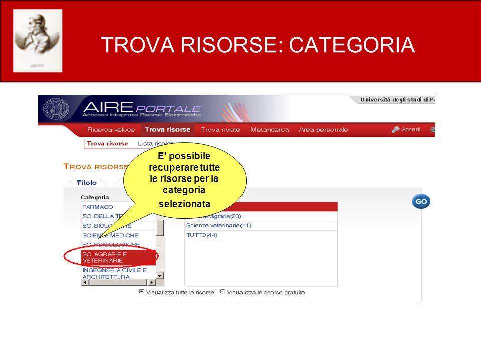 TROVA RISORSE: CATEGORIA