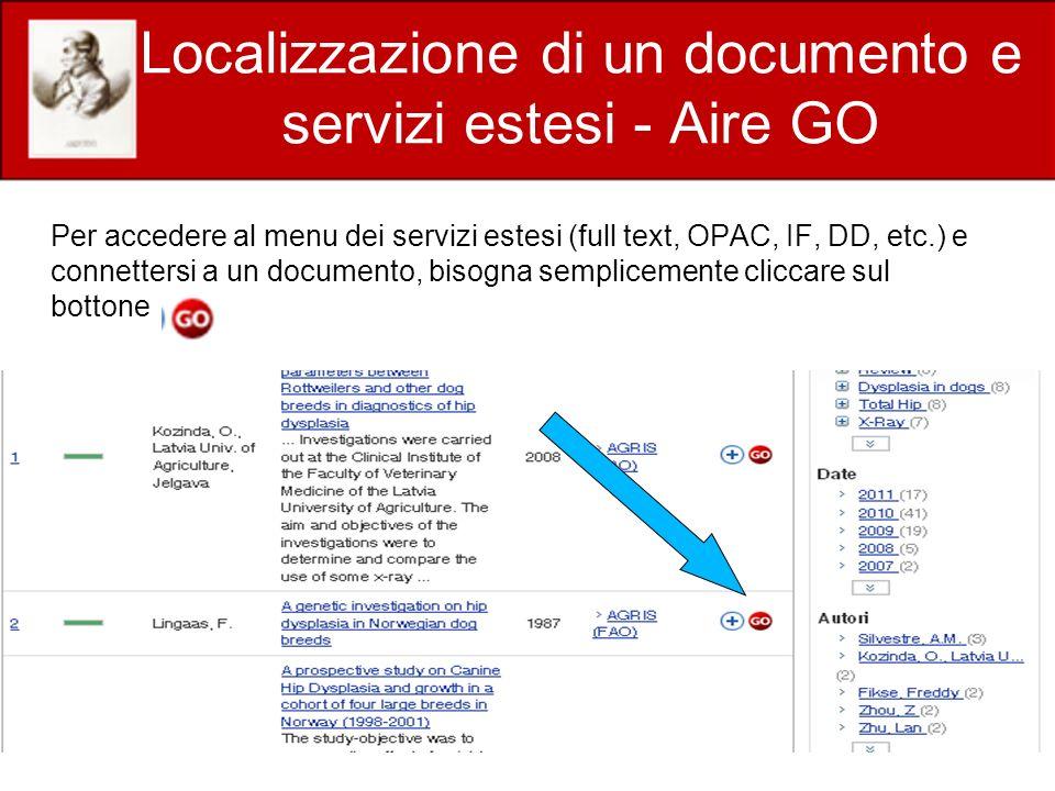 Localizzazione di un documento e servizi estesi - Aire GO