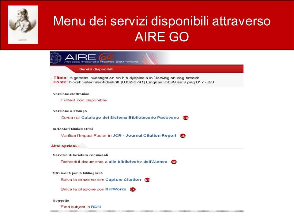 Menu dei servizi disponibili attraverso AIRE GO