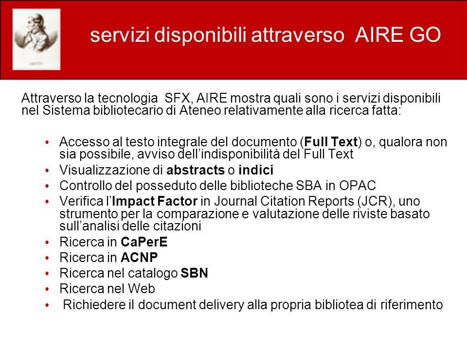 servizi disponibili attraverso AIRE GO