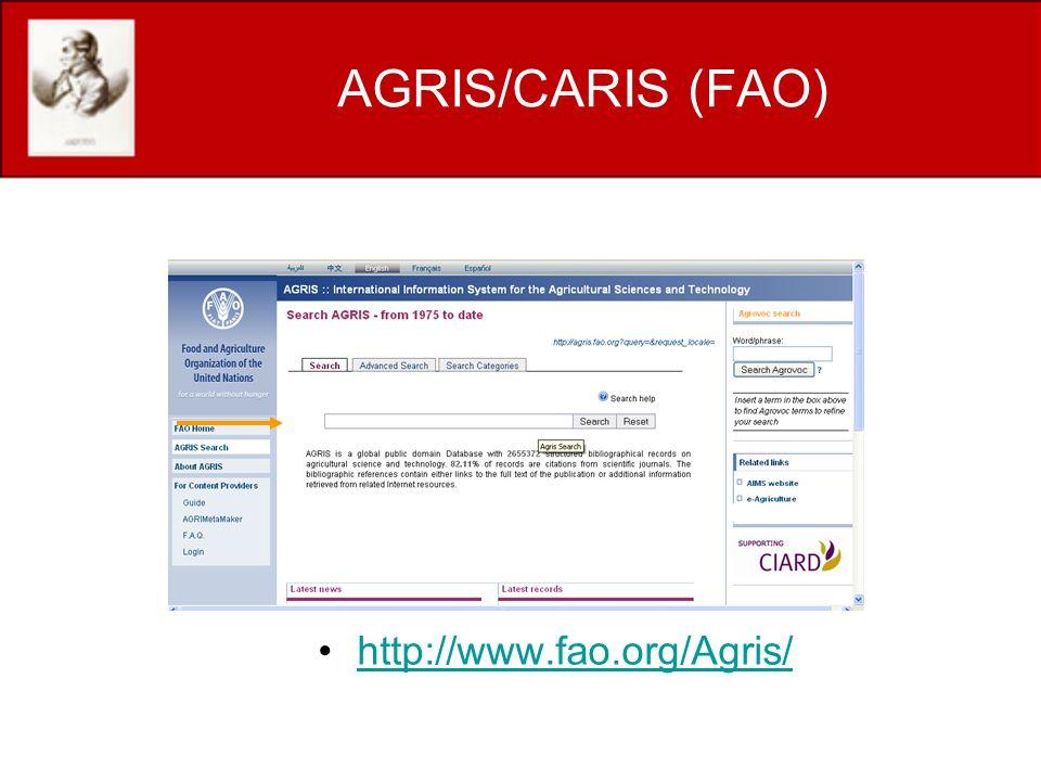 AGRIS/CARIS (FAO) http://www.fao.org/Agris/