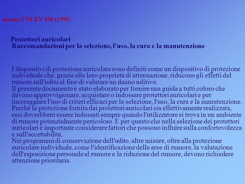 norma UNI EN 458 (1995) Protettori auricolari Raccomandazioni per la selezione, l uso, la cura e la manutenzione.