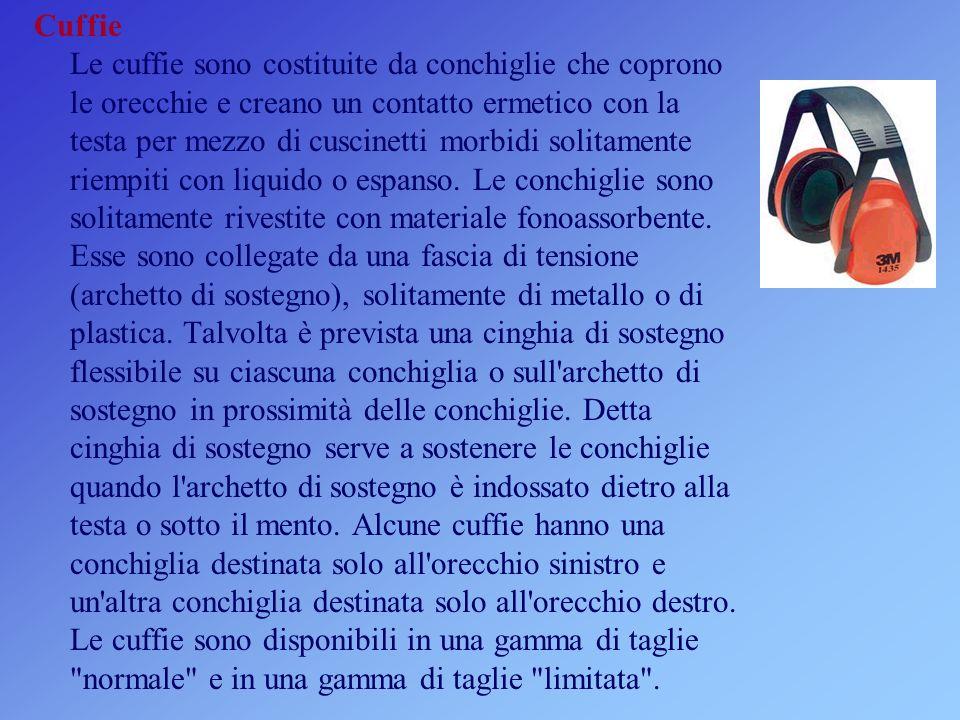 Cuffie Le cuffie sono costituite da conchiglie che coprono le orecchie e creano un contatto ermetico con la testa per mezzo di cuscinetti morbidi solitamente riempiti con liquido o espanso.